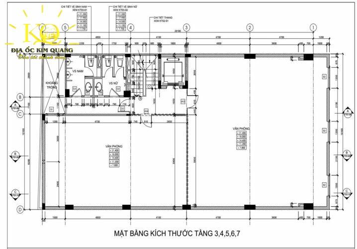 Layout tầng 3-7 tòa nhà đường Tiền Giang