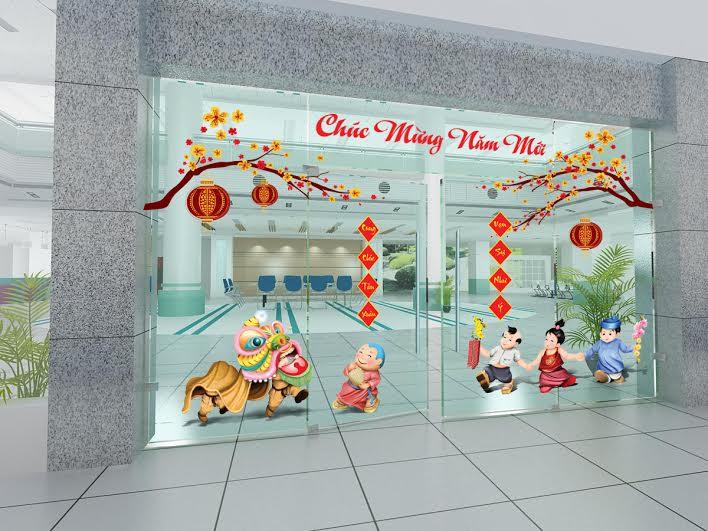 trang trí hoa mai trước cửa công ty